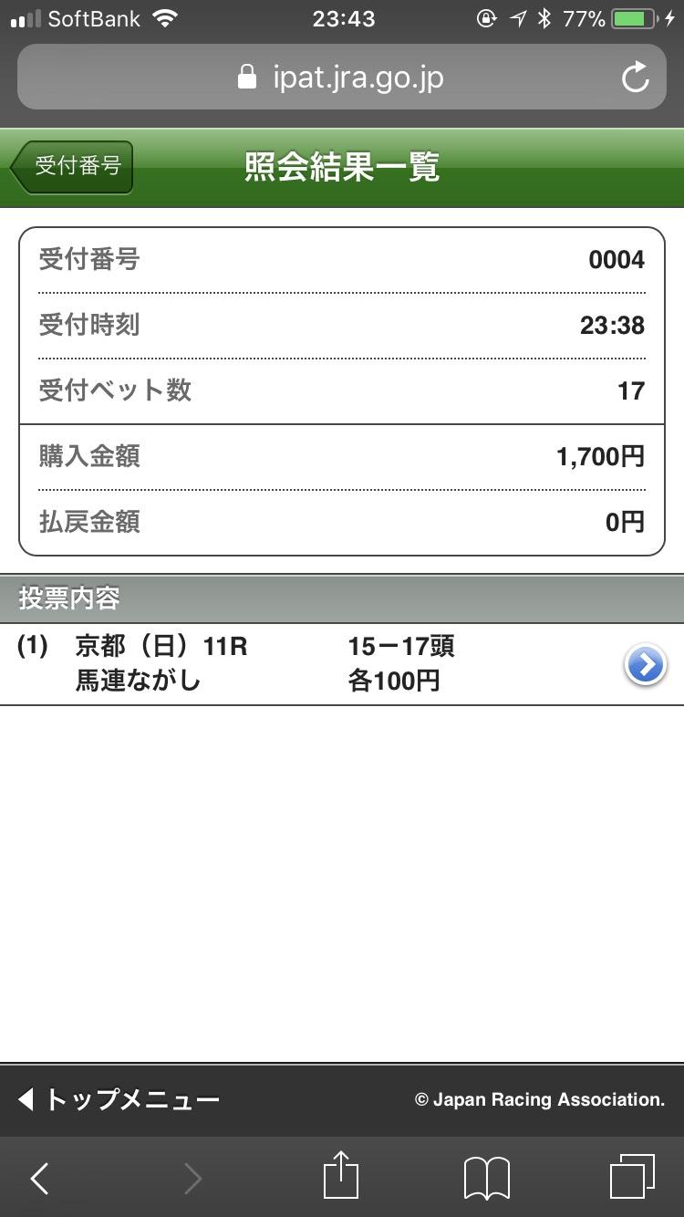 菊花賞 馬連15