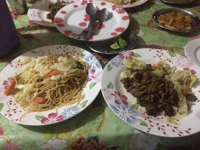 パスタと牛肉の炒め物