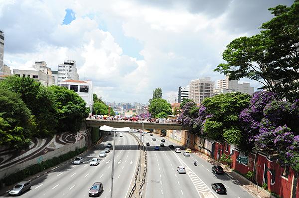 東洋人街の橋からの景色。交通量が多い