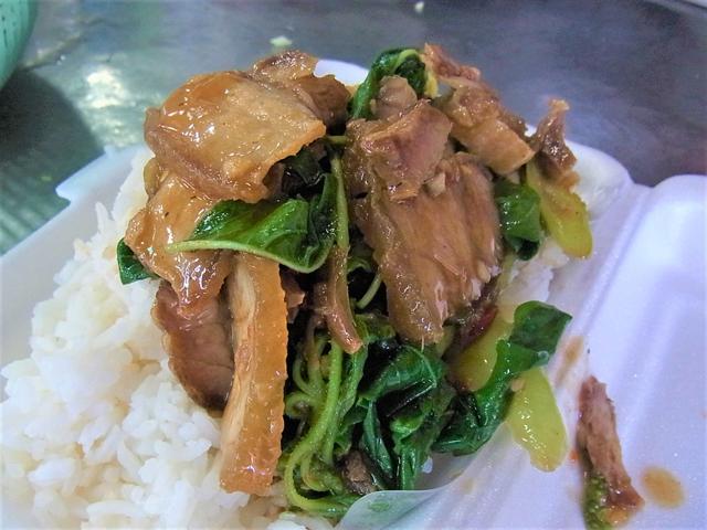 豚三枚肉のから揚げで作ったガパオライス