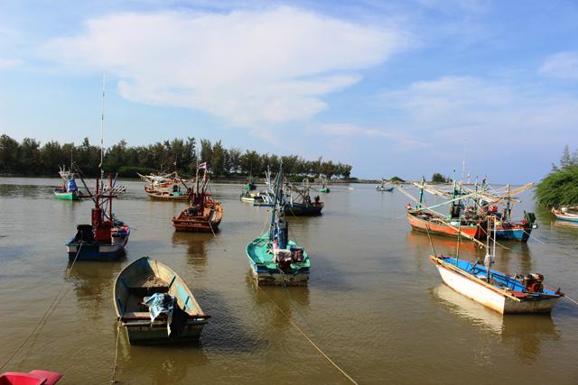パークナーム(河口)に停泊した漁船の群れ。こういう街では魚がうまい