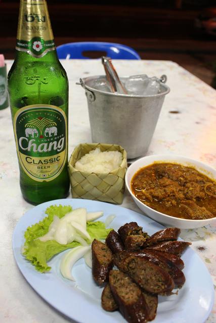 北タイ大勝利セット、サイウア+ゲーンハンレー+カオニャオ&ビール