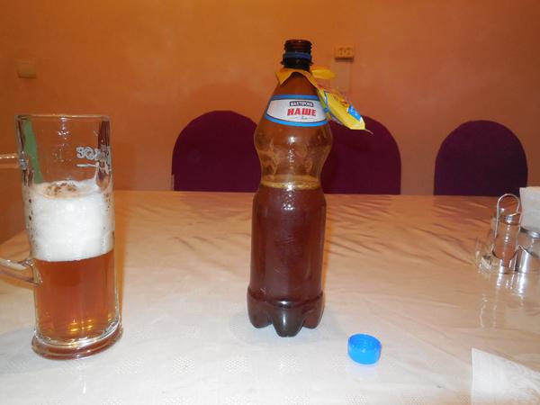 ペットボトルのビール。飲みきれなかった